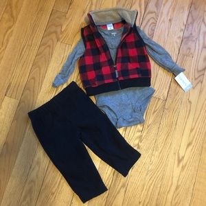 Red & black plaid 3 piece outfit